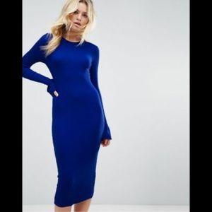 Asos Blue Midi Rib Body-con Dress with Frill Cuffs
